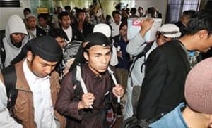 TERTUTUP : Rumah Wahyu, Mahasiswa asal Indonesia yang berkuliah di Yaman. Ia tinggal di kawasan Curug Agung, Beji. Sejumlah mahasiswa yang menuntut ilmu di Yaman tiba di Bandar Soekarno Hatta