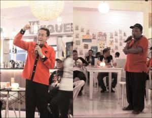 ARAHAN : Ketua DPC PDIP Anim Imamuddin, dan Sekretaris DPC PDIP Kota Bekasi, Tumai bergantian memberikan arahan kepada seluruh kader dan pengurus PDIP Kota Bekasi dalam agenda Kongres PDIP di Bali beberapa waktu lalu.