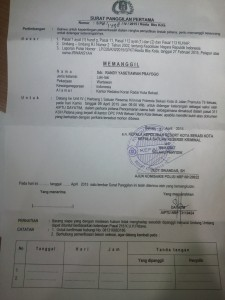 SURAT PANGGILAN: Surat panggilan yang dilayangkan polisi untuk wartawan kasus pencemaran nama baik yang dilaporkan politisi PAN Bekasi Utara.