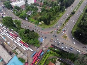 PANTAUAN UDARA: Kondisi persimpangan Jalan Raya Pajajaran, Baranangsiang, dari udara. Di kawasan ini, program tilang elektronik bakal di terapkan.