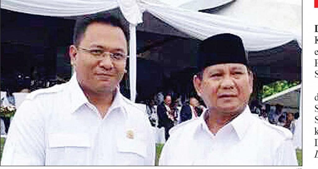 MENUNGGU KEPASTIAN: Ketua DPC Gerindra Depok Pradi Supriatna (kiri) dengan Ketum Gerindra Prabowo Subianto.
