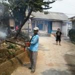 RICKY/ RADARDEPOK BASMI : Ketua RT5/1 Kelurahan Serua, Bojongsari, Kasminah sedang membantu warga untuk pengasapan di lingkungannya, kemarin.