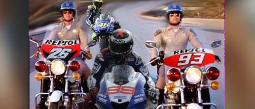 Hm... meme Lorenzo seolah dikawal duo Honda dari Spanyol.