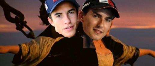 Hm... meme Lorenzo dan Marquez seolah romantisnya dalam film Titanic.