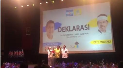 Deklarasi Duo DM Deddy Mizwar-Dedi Mulyadi di Sabuga/foto: Twitter.