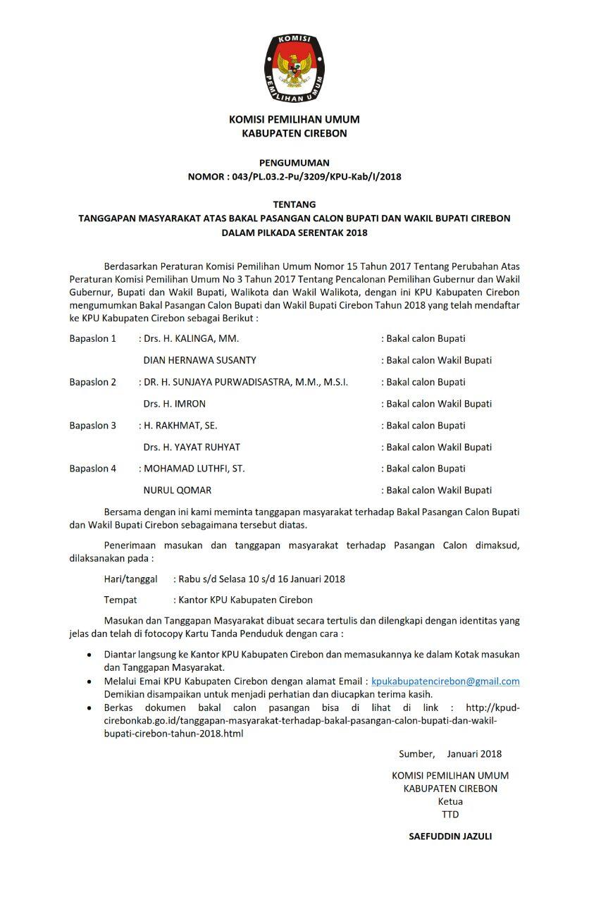 Pengumumn KPU Kabupaten Cirebon