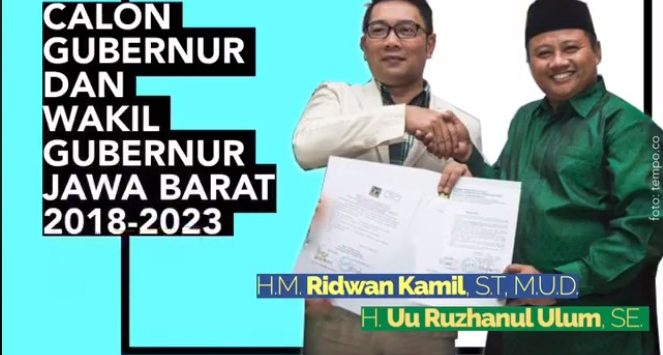 Pasangan Cagub Jabar Ridwan Kamil-Uu Ruzhanul Ulum.