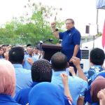 Ketum DPP Demokrat, Susilo Bambang Yudhoyono, saat menyampaikan pidato politiknya di kantor DPC Demokrat Kabupaten Bogor, Jumat (5/1/2017). IST