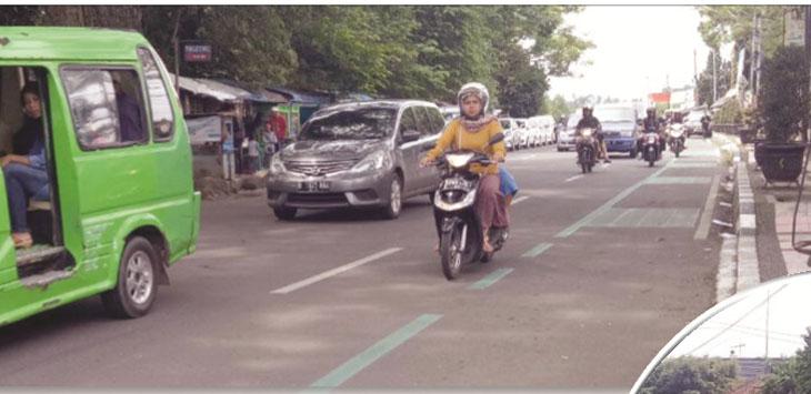 Beginilah jalur baru yang disediakan Pemkot Sukabumi khusus bagi pengendara sepeda di Jalan Veteran, Kota Sukabumi.