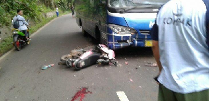 Kececlakaan di Warungkiara Sukabumi, Motor tabrak Bus MGI.