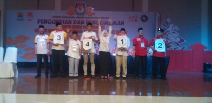 Pasangan calon Bupati Cirebon Kailnga dan Dian Hernawa dapat nomer urut satu. Foto:Dede