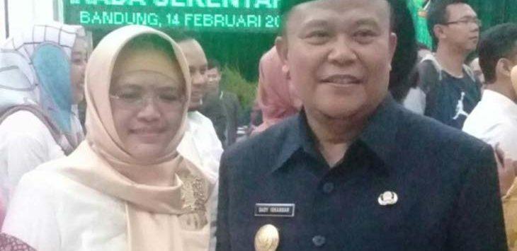 PENGUKUHAN: Dedy Iskandar dikukuhkan menjadi Pjs Bupati Subang, Rabu (14/2/18). Ist