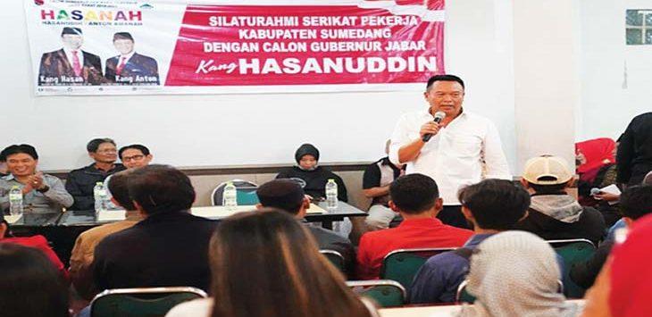 BUTUH POLITICAL WILL: Kang Hasan menilai permasalahan bajir Kahatex bisa diselesaikan asal ada political will yang jelas.Toha hamdani/radar sumedang