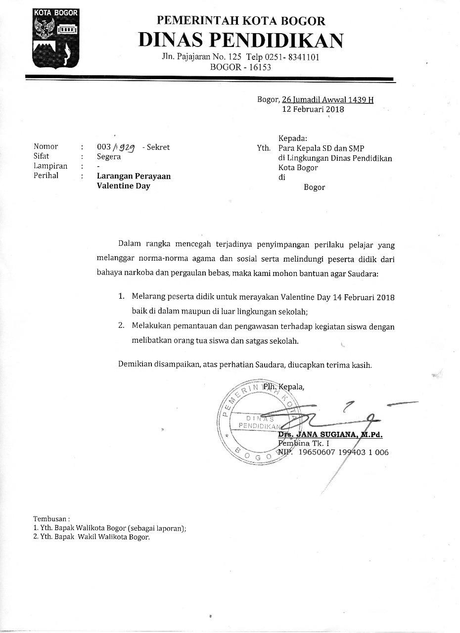 Kop Surat Dinas Pendidikan Kabupaten Bogor - Contoh Kop Surat