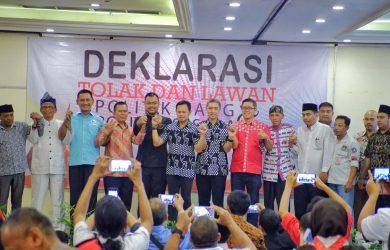 """Pengawas Pemilu (Panwaslu) Kota Bogor menggelar Deklarasi damai yang bertemakan """"Tolak dan Lawan Politik Uang dan Politisasi SARA""""."""