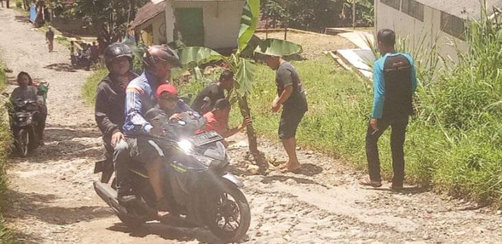 Masyarakat Kampung Batu Asih, RT 1/16, Desa Sekarwangi, Kecamatan Cibadak menanam pohon pisang sebagai simbol kekecewaan.