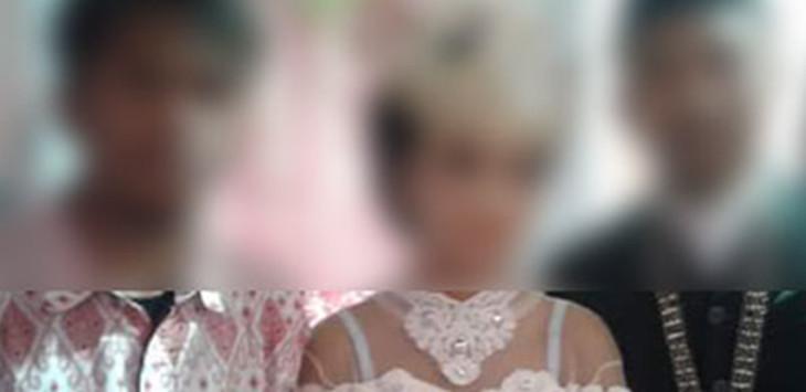 SEMASA BAHAGIA: Relli alias Picung saat duduk di pelaminan bersama istri tercintanya. /Foto: Radarsukabumi.com