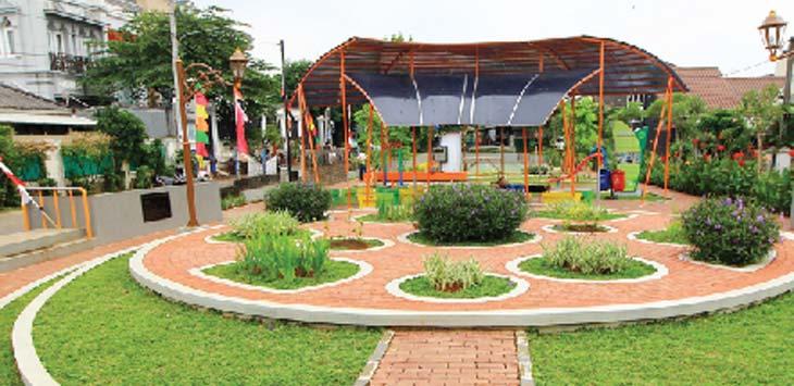 Salah satu taman yang berada di kota depok.