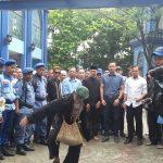 AHY disambut tariang lengser saat tiba di Kota Bogor, Kamis (22/3/2018)/Foto: Adiwirman.
