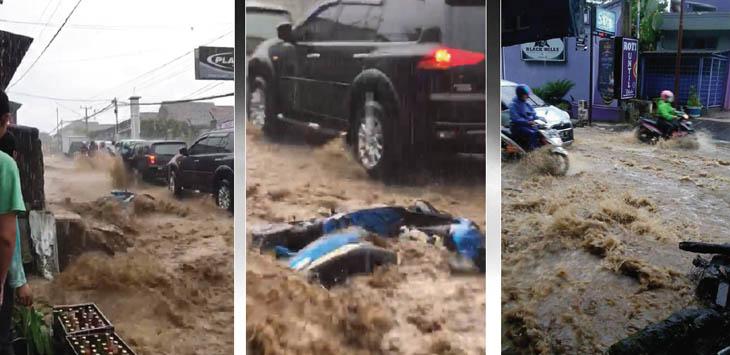 JADI SUNGAI DADAKAN: Aliran air yang deras di jalan raya Pacet, Desa Ciherang menyeret sejumlah kendaraan motor. Tak hanya kerugian materi saja, apabila didiamkan berlarut-larut akan menimbulkan korban jiwa.