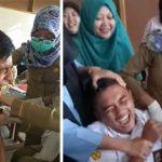 TAKUT: Ekpresi siswa SMK An-Nahl saat imunisasi difteri. FOTO: SARAH ASIFA/RADAR CIANJUR