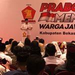 Ketua Umum Partai Gerindra Prabowo Subianto saat menyapa warga Kabupaten Bekasi. Foto : Enriko/Pojokjabar