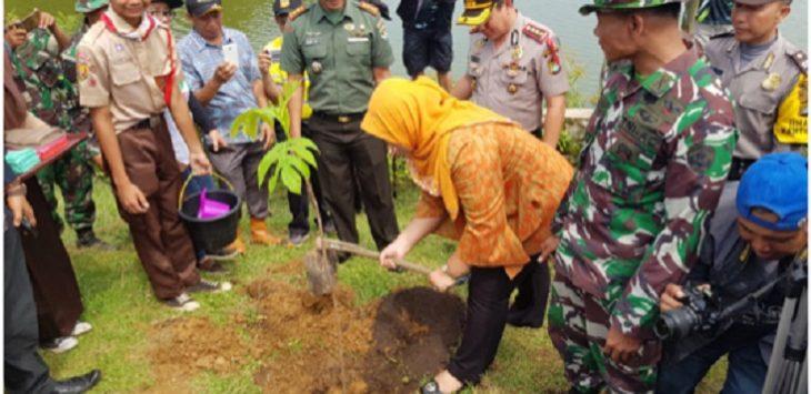 Bupati Bekasi Neneng Hasanah Yasin menanam pohon sukun di Situ Abidin, Kecamatan Bojongmangu.Istimewa