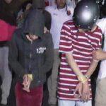 TAK BERDAYA: Tiga pelaku pembacokan dan empat kawannya dicokok Polresta Depok, semalam saat berada di kontrakan Kelurahan Jatijajar, Tapos. Fahmi/Radar Depok
