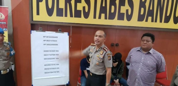 Kapolrestabes Bandung, Kombes Pol Hendro Pandowo ungkap kasus ancaman terhadap 89  perempuan, Kamis (12/4/2018)./Foto: Humas Polrestabes