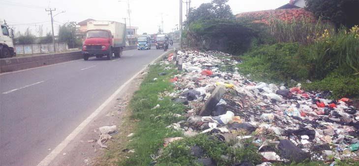 BERSERAKAN : Sampah di pinggir Jalan Raya Pantura Jatisari berserakan. Kondisi tersebut selain merusak pemandangan juga bisa mengancam kesehatan warga. AHMAD SOPIAN YAHYA/RADAR KARAWANG