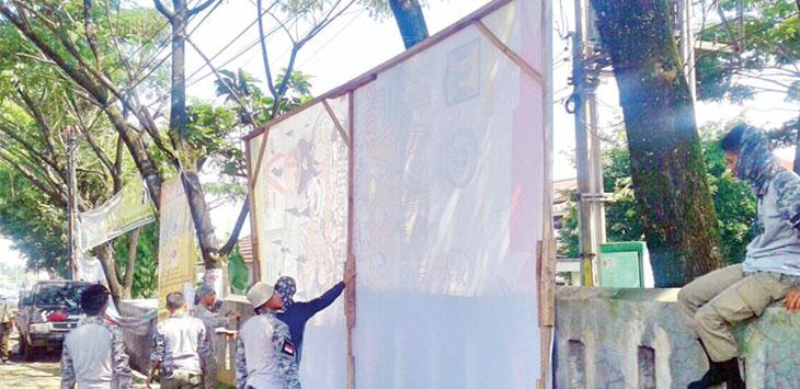 Baliho Cagub di Cibadak Sukabumi Ditertibkan