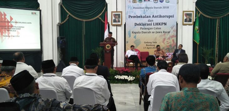 Kegiatan Pembekalan Antikorupsi dan  Deklarasi LHKPN Pasangan Calon Kepala Daerah Se-Jawa Barat, Selasa (17/4/2018)./Foto: Istimewa