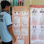 Seorang napi Lapas Cibinong Kelas IIA tengah melihat banner sosialisasi Pilkada, Selasa(17/4/2018)./Foto: Unang