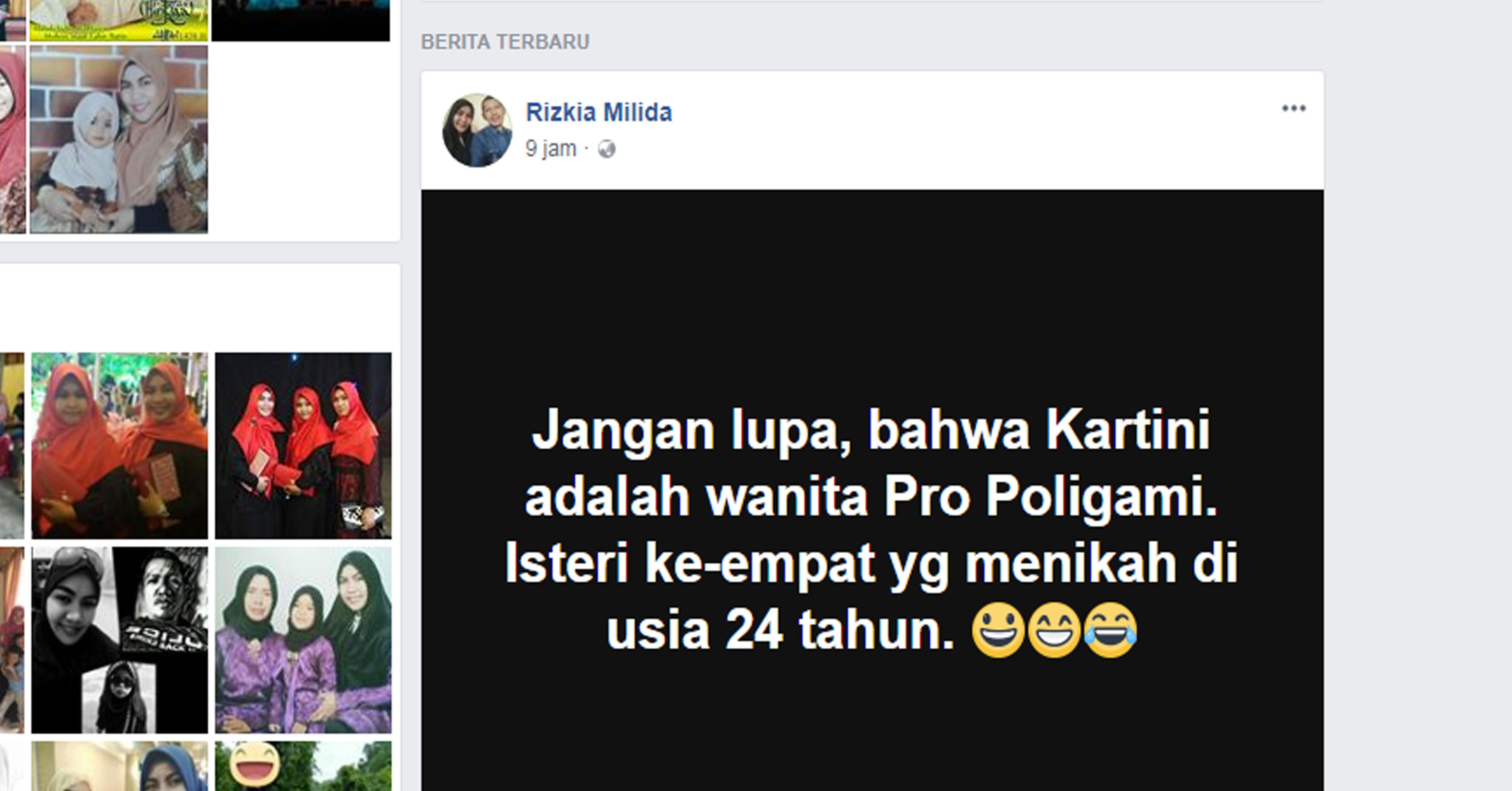 Status warganet terkait Hari Kartini, Sabtu (21/4/2018)./Foto: Facebook.