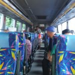 Sejumlah penumpang terlihat sedang berada di Bus, mereka akan pulang kampung, meskipun hari raya idul Fitri terbilang masih lama, Foto/adi