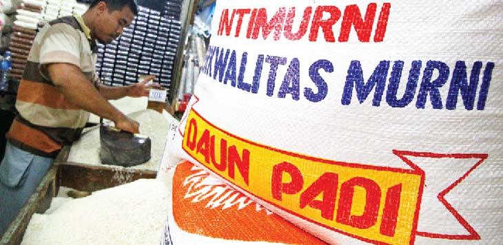 BERAKTIFITAS: Salah satu pedagang beras di Pasar Agung sedang beraktifitas di lapak dagangannya. Ahmad Fachry/Radar Depok