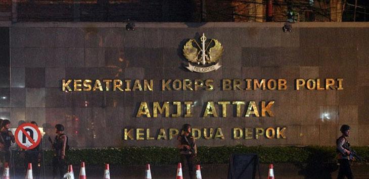 Penjagaan di depan gerbang Mako Brimob Kelapa Dua Depok, Jabar /Foto: via Jawapos