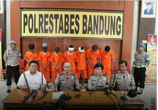 7 orang geng Beogea diamankan polisi./Foto:via Rmol