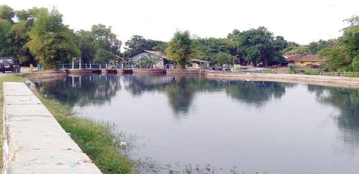 HITAM : Irigasi Situdam yang bersumber dari saluran sungai Cilamaya dan Ciherang terlihat hitam pekat. Penyebab dari berubahnya warna tersebut pencemaran yang bersumber dari perusahaan yang ada di Subang dan Purwakarta.