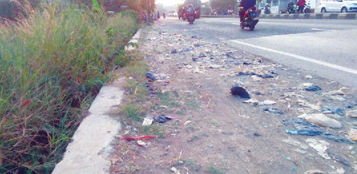 BERSERAKAN : Terlihat sampah berserakan di Jalan Raya Pancawati, Klari. Selain itu kondisi rumput yang tinggi juga menjadikan kondisi jalan tersebut makin terlihat kumuh. Fauzi/Radar Karawang