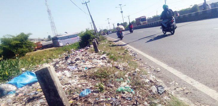 BERSERAKAN : Sampah di pinggir Jalan Raya Pantura Cikalongsari, Jatisari terlihat berserakan. Kondisi tersebut mencerminkan pengelolaan sampah di Karawang belum optimal. Fauzi/Radar Karawang