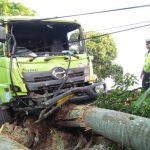 RUSAK : Truk rusak usai menabrak pohon dan pagar rumah setelah sebelumnya menabrak sepeda motor di jalan Raya Sukabumi Cianjur.