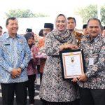 Sekretaris Menteri Kementerian Koperasi dan UKM Republik Indonesia Meliadi Sembiring memberikan penghargaan Bhakti Koperasi kepada Bupati Karawang dr. Hj. Cellica Nurrachadiana.