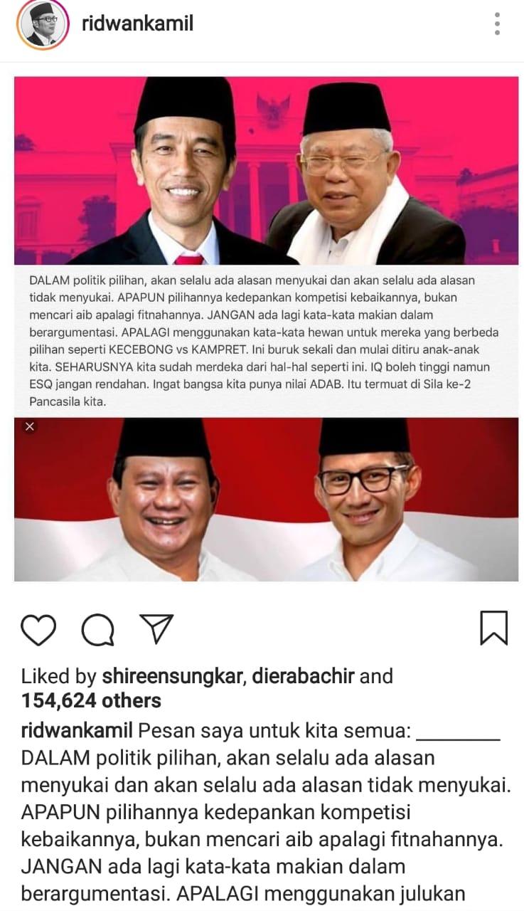 Postingan Instagram Ridwan Kamil