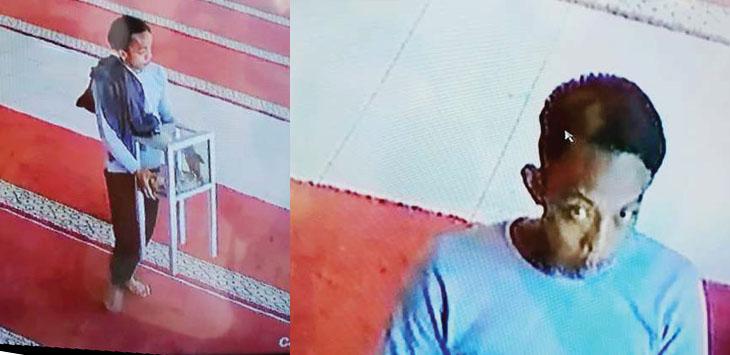 Maling kotak amal terekam CCTV