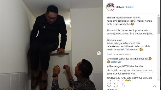 Gubernur Jawa Barat Ridwan Kamil terjebak di salah satu toilet kamis 1392018