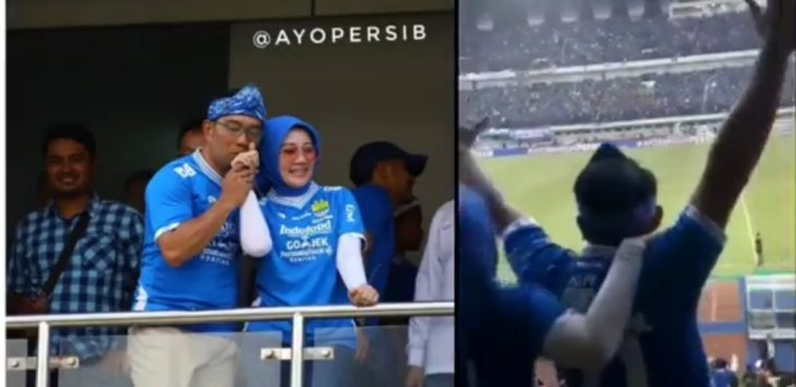 Ridwan Kamil dan istri di Stadion GBLA saat pertandingan Persib VS Persija, Minggu (23/9/2018),.Foto: Instagram