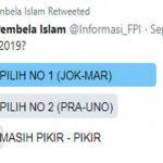 Twitter FPI Gelar Polling Pilpres, eh Pemenangnya JokowiTwitter FPI Gelar Polling Pilpres, eh Pemenangnya Jokowi