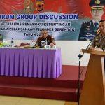 DISKUSI : Kapolres Subang AKBP Muhammad Joni memberikan sambutan saat Forum Group Discussion di Resort Lembah Gunung Kujang.  MOHAMAD ANWAR/RADAR BANDUNG