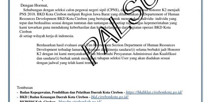 Surat pemanggilan palsu CPNS kategori K2 di Kota Cirebon yang beredar./istimewa